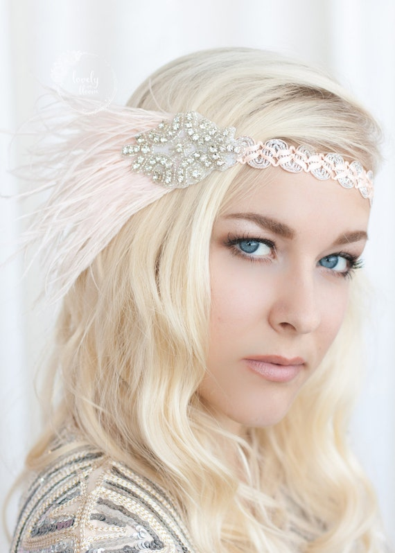 Feather Headband, Blush Hair Piece, Gatsby Headband, Flapper Headband, Wedding Head Band, Rhinestone Headband, Flower Girl Headband