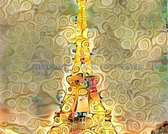 Paris Tour Eiffel  - Unique ArtWork in Klimt Style - A Modern Art Illusion of Paris Tour Eiffel in Canvas Print by FusionArtWorks