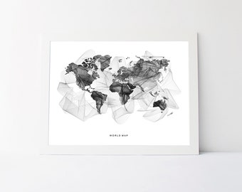 World map wall art globe metal wall artpersonalized in world map black and white geometric world map wall art printable office decor gumiabroncs Choice Image