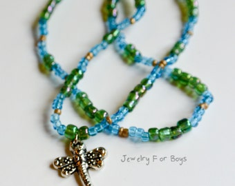 """Dragonfly Necklace, 16"""" Stretch Beaded Necklace"""