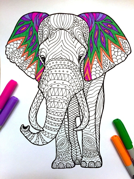 free zentangle elephant coloring pages - photo#14