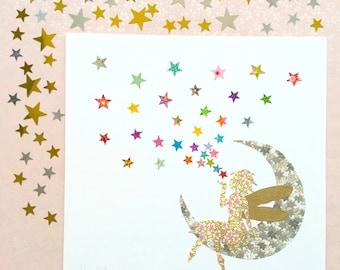 Fairy print - star art - nursery wall art - fairy decor - christening gift - baby shower gift - girl nursery prints - baby girl gift