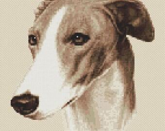 Greyhound Dog in Sepia Cross Stitch Design by Elite Designs