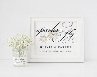 Wedding Sign Template, Editable Printable Template, Printable Sign, Wedding | Hand Lettered Calligraphy | 5x7 & 8x10 | No. EDN 2014 Sparkler