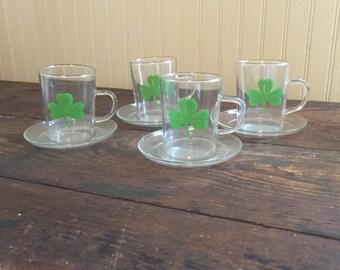 Vintage Green Clover Glasses Set