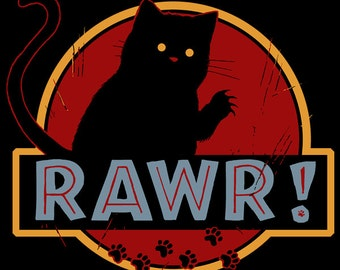 RAWR! • LADIES FIT T-Shirt • Cute Jurassic Cat • Funny Tee For Geeky Women