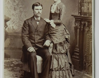 "Antique Cabinet Card Photo - Handsome Couple - Wedding Photo?  Photographer T. J. Arnold, Ballston Spa, NY - Dated on back ""Dec 1882"""