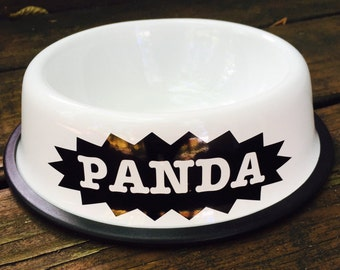 Personalized White Dog Bowl with Starburst - Personalized Dog Bowl - Custom Dog Bowls - Dog Dish - Dog Bowls - Dog Bowl with Name