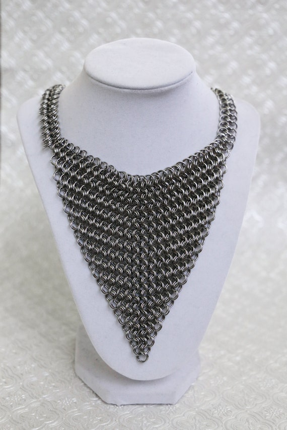 Kingsmaille Armor Bib Necklace - Gothic Chainmaille Jewelry - European 8 in 2 Chainmail - Maille Armor Necklace - Medieval Armour Jewelry