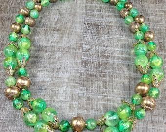 Stunning Vintage Double Strand Textured Green Bead Retro Gold Tone
