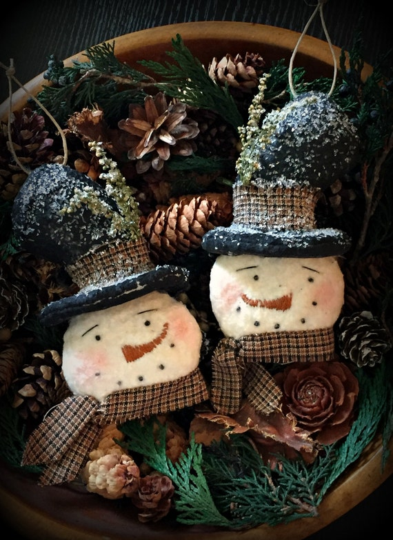 Primitive Christmas Snowmen Ornaments Bowl Fillers Set Of 2