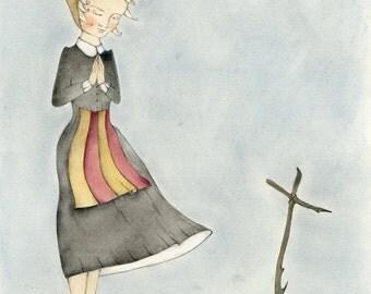 Original illustration pastel sec and pencils