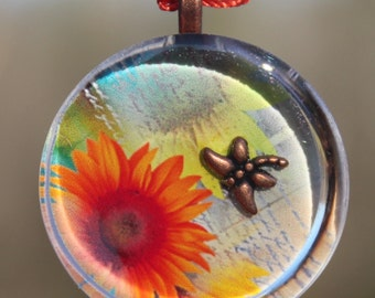 Orange Gerbera Daisy & Dragonfly Handcrafted One of a Kind Pendant with Crocheted Necklace; FREE SHIPPING