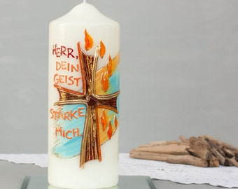 Modern candle to the confirmation, candle gift for sponsors, candle Christian, Confirmand, blessing candle, candle, candle motif wax, E403