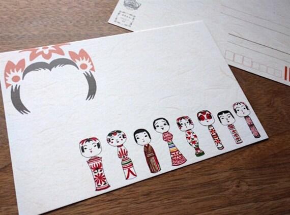 Mariko Ueda Original Kokeshi Doll Post Card