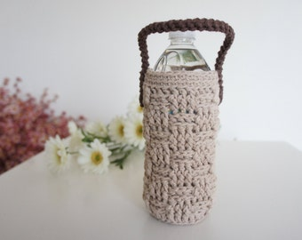 Water Bottle Cozy, Brown, Beige Crochet Bottle Cozy, Water Bottle Sleeve,Summer Accessories, Yoga, Biking, Gym, Hiking, Kids Bottle Cozy