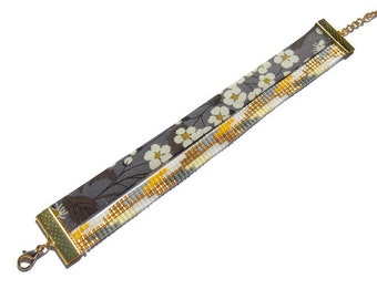 Bracelet cuff in beads Miyuki and liberty, grey yellow gold