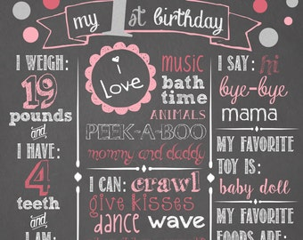 "Girls First Birthday Chalkboard Sign 16x20"" Poster Dots Pink Silver"