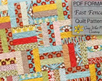 Rail Fence Pattern, Lap Quilt Pattern, PDF Baby Quilt Pattern, Beginner Baby Quilt Pattern, Fast Fences, Jelly Roll Pattern, Strip Quilt PDF