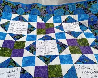Prayer Quilt, christian quilt, handmade quilt, scripture quilt, bible quilt, wall hanging, psalm quilt, praise quilt, amazing grace