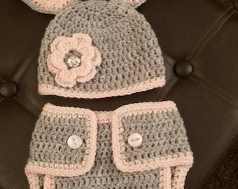 Crochet  Easter Bunny Hat and Diaper  outfit , Photo shoot prop   Newborn , 0-3 months