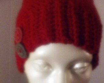 New red rust hat with buttons