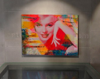 Mixed media collage art, Pop art painting, Metal wall art decor, Living Room Wall Art, Modern metal wall art, Marilyn Monroe, Figurative Art