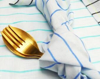Towels picnic linen stripes, set of 3 pieces