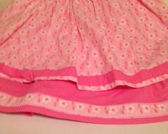 Girl's Pink Double Layer Elastic Waist Skirt