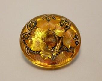 Czech glass button -  yellow, gold - 27mm