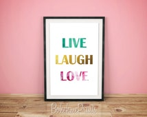 Live Laugh Love, Live Laugh Love Wall Art, Turquoise Wall Art,  Gold Wall Decor, Typography Print, Bedroom Wall Decor, Love Home Decor, Love