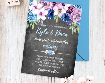 Printable Wedding Invitations Purple and Blue Wedding Invitation Turquoise Blue Lilac Floral Wedding Invite Romantic Wedding Invitation Set
