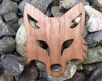 Tricky Fox Clever Forest Animal Laser Cut Walnut Wooden Sticker