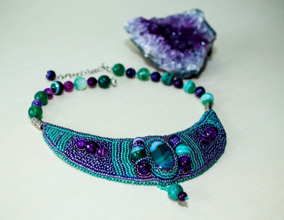 "Beaded necklace ""Dreams"" Purple green agate choker necklace Gift for her"