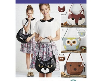 Sewing Pattern for  Animal Shoulder bags,  Simplicity 1181, Fox, Dog, Cat or Owl Bags in Leather, Suede or Leather-Like Fabrics