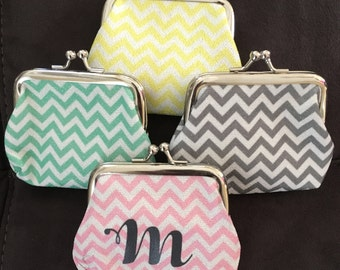 SALE Personalized Chevron Coin Purse - BLANKS - Multiple colors available.