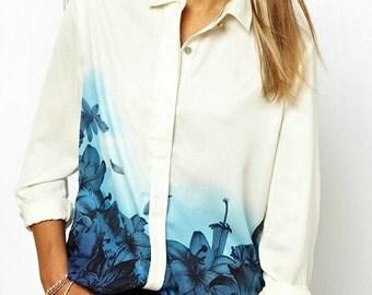 Blue Lily Chiffon Blouse