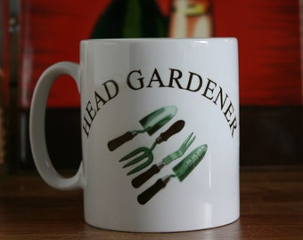 Ceramic Mug with Head Gardener & Tools print, Gardening tools, Ceramic gardening, Gardeners mug, Head gardener, Garden tools, Gardener.