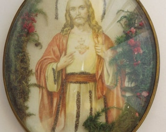 French Religious Vintage Jesus Sacred Heart Reliquary Pendant  - Catholic Communion Gift