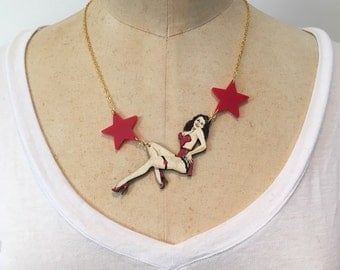 Pinup girl necklace, laser cut acrylic and wooden necklace, vintage style lady necklace
