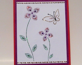Hand Stitched Flower & Butterfly Note Card
