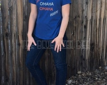 Denver Broncos T Shirt, Omaha Omaha Peyton Manning T-Shirt.  Women's T Shirt available in various sizes.