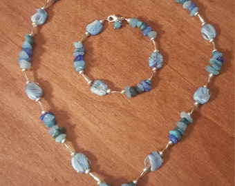 Blue Glass Beaded Necklace, Bracelet and Earring Set