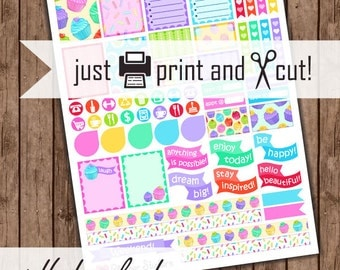 Cute Cupcake Planner Stickers, Printable Monthly Planner Kit, Colorful Dessert Stickers
