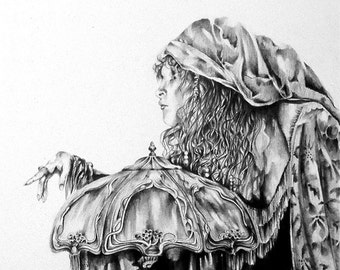 Detailed drawing of Stevie Nicks,  Pencil Drawing, Illustration