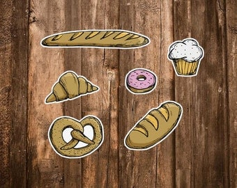 Bakery Stickers - 6 Food Stickers - Baked Goods - Pastry Chef/Baker Gifts - Bread, Muffin, Baguette, Pretzel, Croissant, Donut Sticker