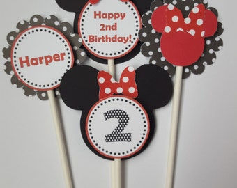 Minnie Mouse Cupcake Toppers (24), Minnie Cupcake Toppers, Minnie Mouse Birthday, Red and White Polka Dot Birthday