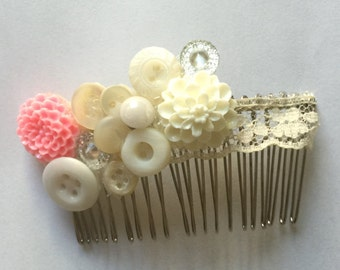 Resin and Glass Vintage Button Comb