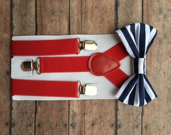 Red, White & Blue Suspender Set, Red Suspenders, Toddler Suspenders, Red, White and Blue Outfit, Blue Striped Bowtie, 4th of July Outfit