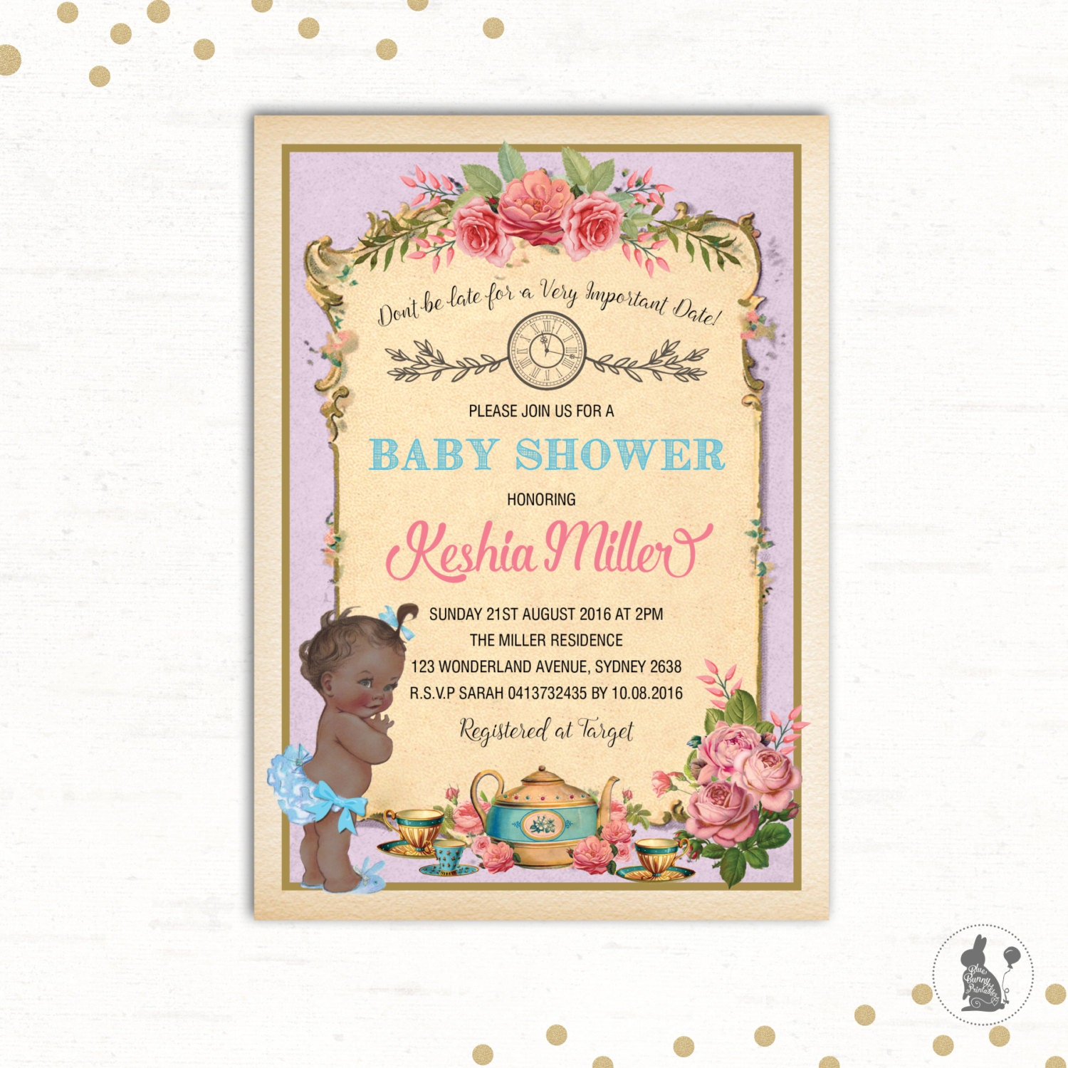 alice in wonderland invitation baby shower by bluebunnyprintables